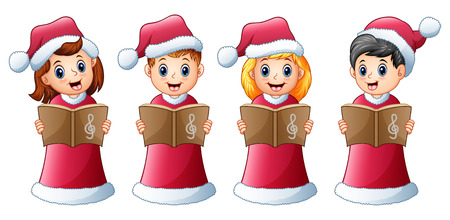 Vector illustration of Group of kids in red santa costume singing christmas carols Vectores