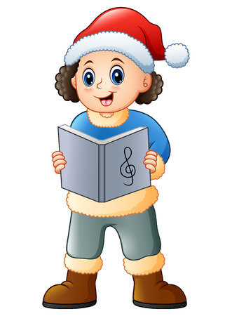 Vector illutration of Happy boy singing christmas carols Illustration