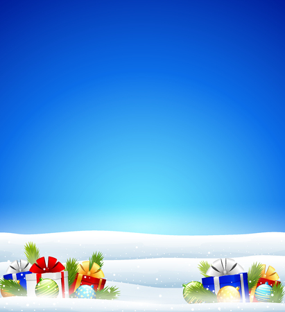 Vector illustration of Winter background with gift boxes and balls