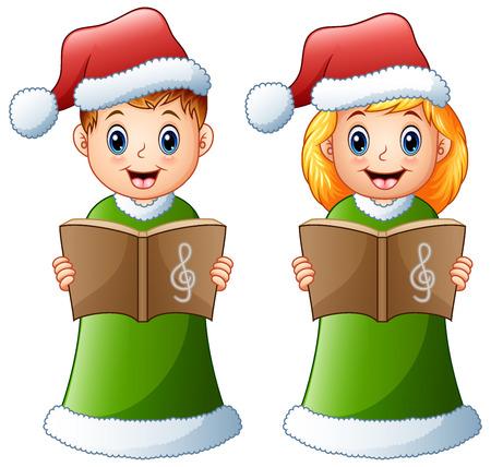 Vector illustration of Happy kids in green santa costume singing christmas carols Illustration