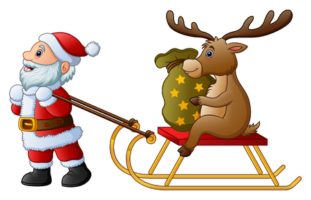 Vector illustration of Cartoon funny santa claus pulling a sleigh with a deer with sack of presents