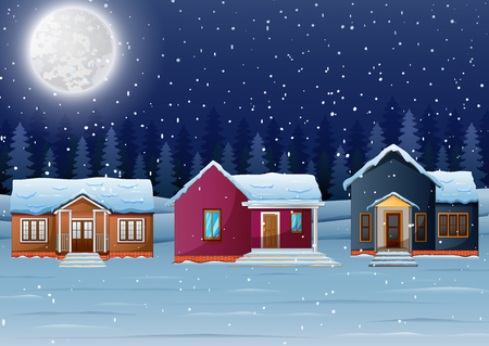 snowy hill: Vector illustration of Night winter village landscape with snow covered house and snowfall Illustration