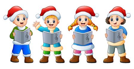 Vector illustration of Group of kids in santa costume singing christmas carols Vectores