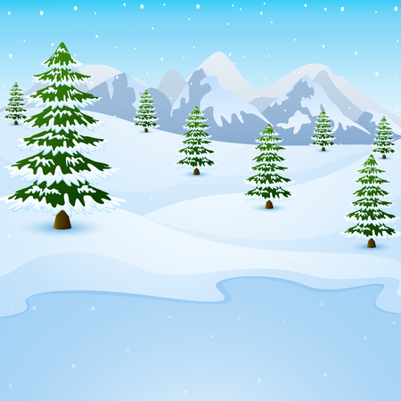 Vector illustration of Winter mountain landscape with fir trees and frozen lake