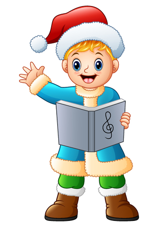 Vector illustration of Happy boy singing christmas carols waving Illustration