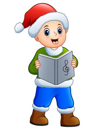 Vector illustration of Happy boy singing christmas carols