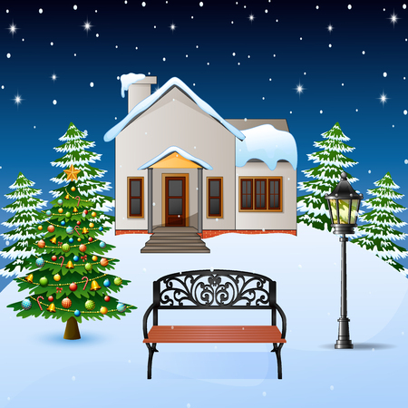 Vector illustration of Winter night background with house, wood bench and christmas tree on the snow hills