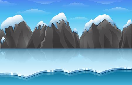 漫画冬の北極氷風景氷山と雪の山と岩の丘 写真素材 - 89749661