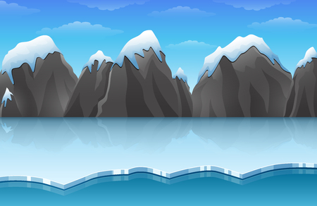 Cartoon winter arctic ice landscape with iceberg and snow mountains rocks hills