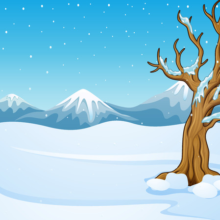 Winter mountain landscape with bare tree Stock Photo