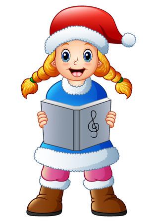 Blonde girl singing christmas carols Stock Photo