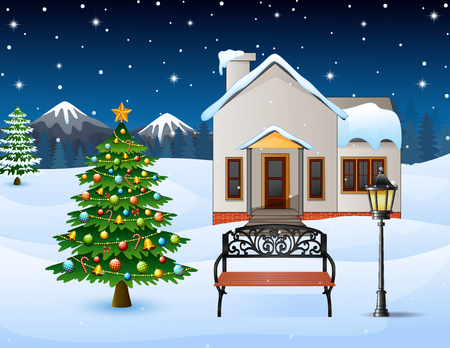 Winter night background with christmas trees, street lamp and bench in front snowy house