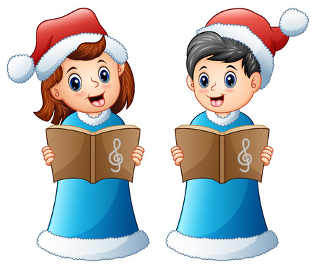 Happy kids in blue santa costume singing christmas carols Stock Photo