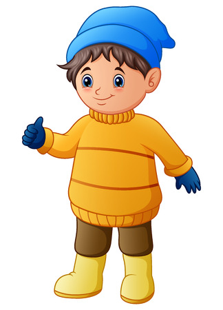 Vector illustration of Happy boy in yellow winter clothes giving thumbs up