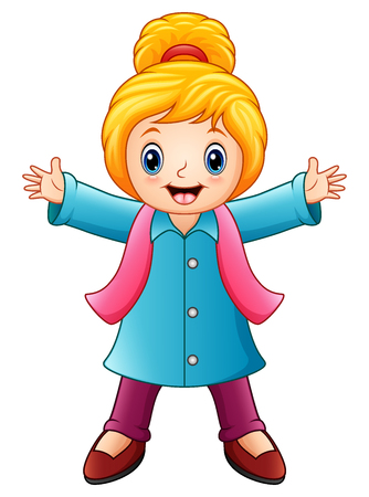 Vector illustration of Cartoon happy girl in winter clothes Illustration