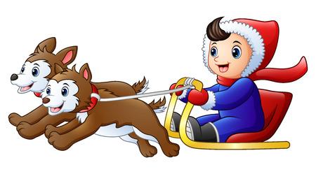 Cartoon boy riding a sleigh pulled by dog