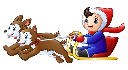 Cartoon boy riding a sleigh pulled by dog
