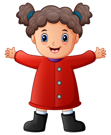Happy little girl in red winter clothes