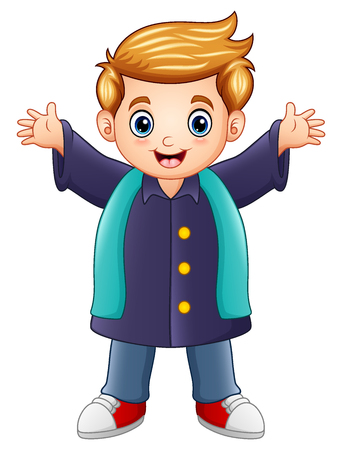 Happy boy in purple winter clothes Stock Photo