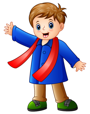 Cartoon happy boy in blue winter clothes Stock Photo