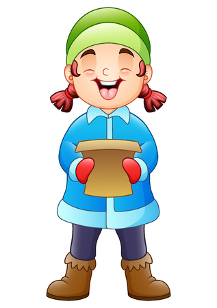 Vector illustration of Cartoon girl singing christmas carols
