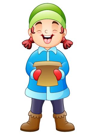 Vector illustration of Cartoon girl singing christmas carols