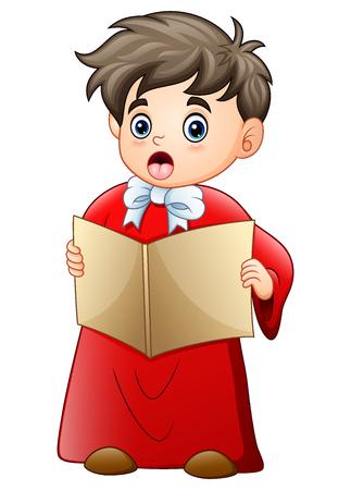 Vector illustration of Cartoon boy singing christmas carols