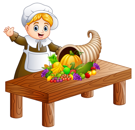 Vector illustration of Pilgrim girl with cornucopia of fruits and vegetables on wooden table