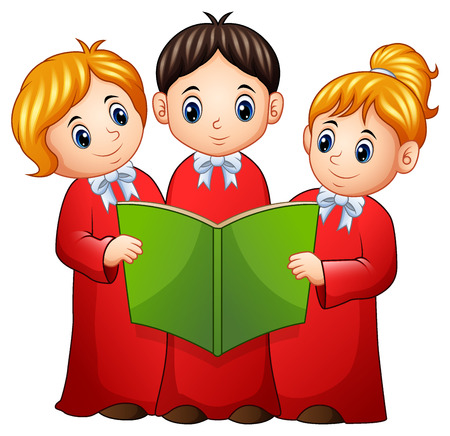 Vector illustration of Group of children choir