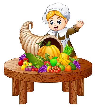 Vector illustration of Pilgrim girl with cornucopia of fruits and vegetables on round wooden table
