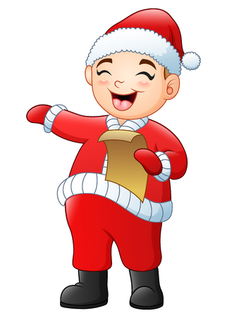 Vector illustration of Cartoon santa singing christmas carols