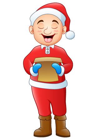 Vector illustration of Cartoon santa singing christmas carols