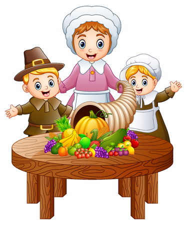 Vector illustration of Pilgrim family with cornucopia of fruits and vegetables on round wooden table