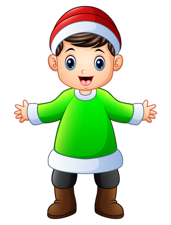 Vector illustration of Happy boy in green Santa Claus costume with Christmas red hat. Illustration