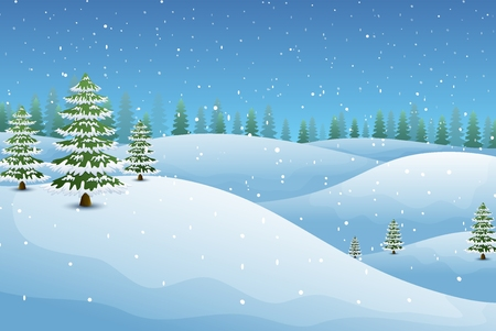Vector illustration of Winter landscape with fir trees and snowy hills