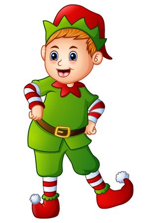 Vector illustration of Cartoon christmas elf posing