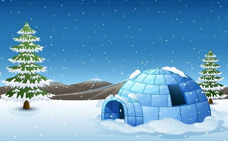 Vector illustration of Igloo with fir trees and mountains in winter illustration Illustration