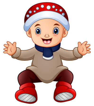 Cute little boy in winter clothes Stock Photo