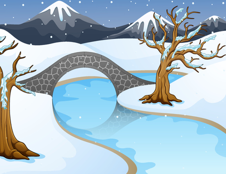 Vector illustration of Cartoon winter landscape with mountains and small stone bridge over river.