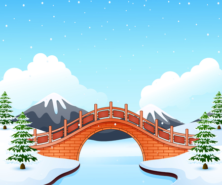 Vector illustration of Winter landscape with mountain and small stone bridge over river. Illustration
