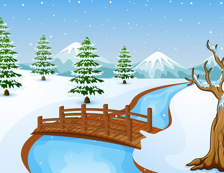 Vector illustration of Cartoon winter landscape with mountains and small wooden bridge over river. Ilustração