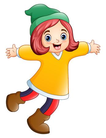 Vector illustration of Happy girl in yellow Santa Claus costume.