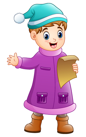 Vector illustration of Cartoon boy in winter clothes singing Christmas carols. Illustration