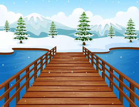 Vector illustration of Cartoon winter landscape with mountains and wooden bridge over river