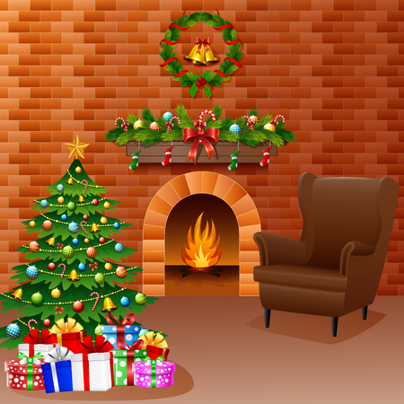 Vector illustration of Christmas fireplace with Christmas tree, presents, and sofa.