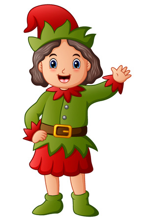 Vektorillustration der Elfe der Karikatur glückliches Weihnachts Standard-Bild - 90163372