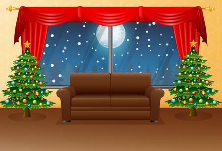 クリスマス リビング ルーム アームチェア、モミの木、赤いカーテンのベクター イラストです。