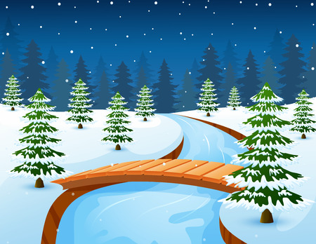 Vector illustration of Cartoon winter landscape with forest and small wooden bridge over river Illustration