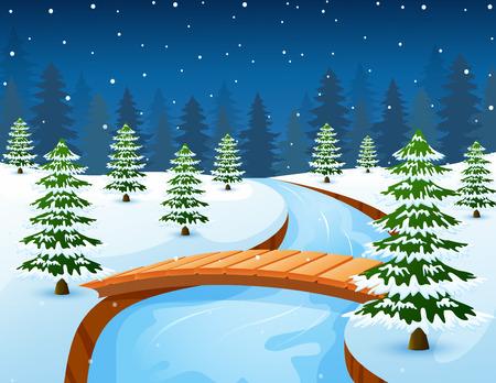 Vector illustration of Cartoon winter landscape with forest and small wooden bridge over river Ilustração
