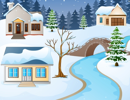 Vector illustration of Cartoon winter rural landscape with houses and stone bridge over river